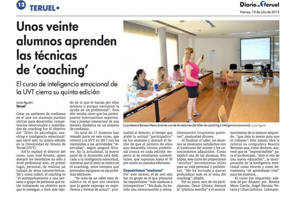Prensa: Curso Psicología, coaching e inteligencia emocional. Universidad de Teruel 2015