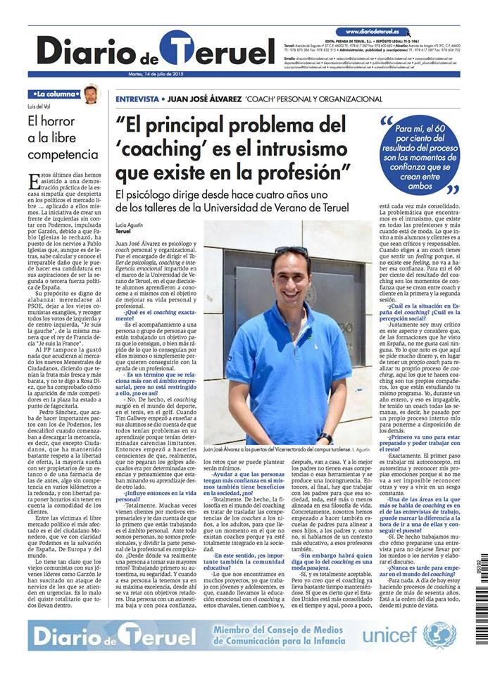 Entrevista con @JuanJoAlvarezV. Curso Psicología, coaching e inteligencia emocional. Universidad de Teruel 2015
